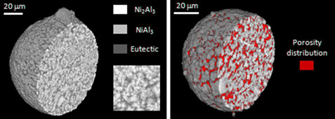 Distribution of alloy phases within a Ni-Al atomised droplet and pore distribution within a passivated Raney-type Ni droplet