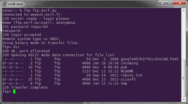 FTP access using a FTP client