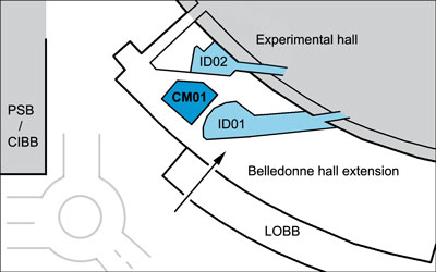 CM01 location in Belledonne exprimental hall extension