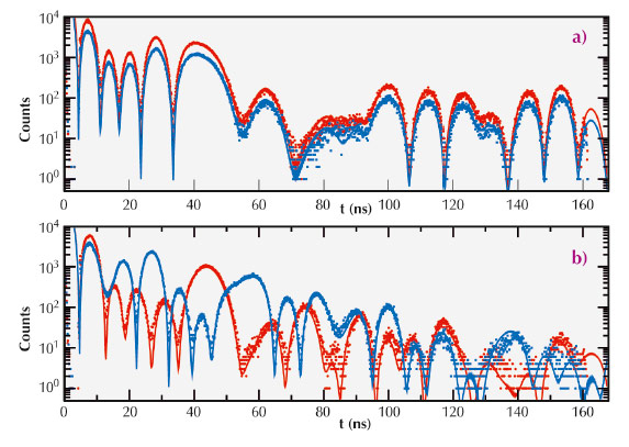 Measured and simulated NRS time spectra