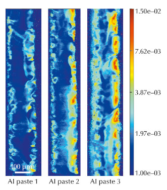 Si 220 FWHM maps (in degree) from section topography rocking curve imaging of solar cells