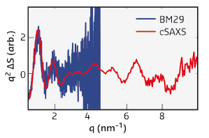 Difference signals seen in light-induced SAXS (blue) and WAXS (red) scattering patterns from solutions of the phytochrome studied