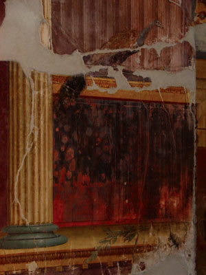 A wall showing the heavy damage due to blackening of cinnabar in the Poppea's villa in Oplonti. Credits: Mario Pagano