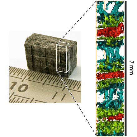 Application of direct tomography to a layered C/SiC sample