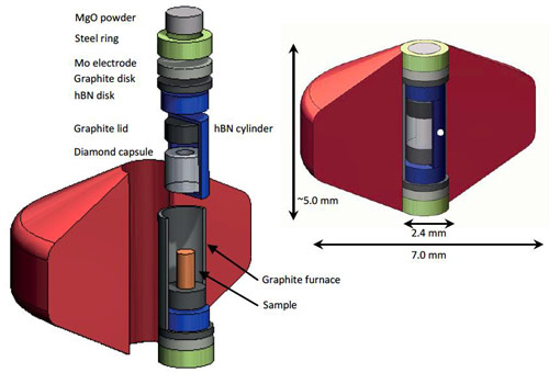 An exploded view drawing of the high-pressure cell assembly.