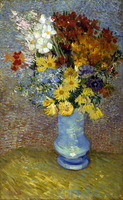 "Photo of the painting ""Flowers in a blue vase"" painted by Vincent Van Gogh in 1887. The part affected by the discolouration is in the upper right. Credit Kröller-Müller Museum."