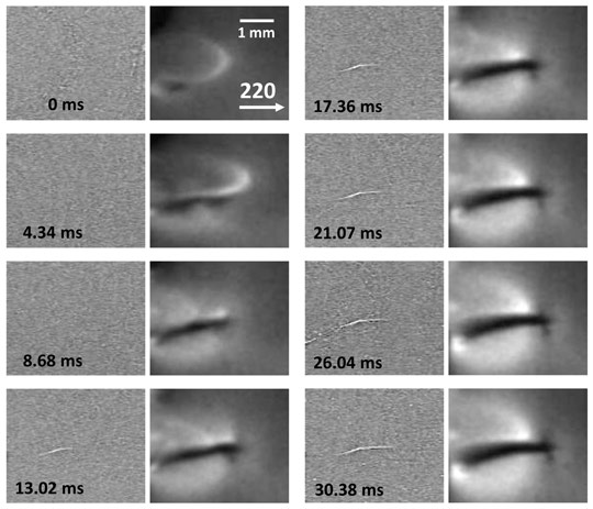 Crack propagation in a silicon wafer under thermal stress