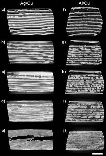 Morphological evolution of multilayers upon shearing acquired by 3D X-ray synchrotron tomography
