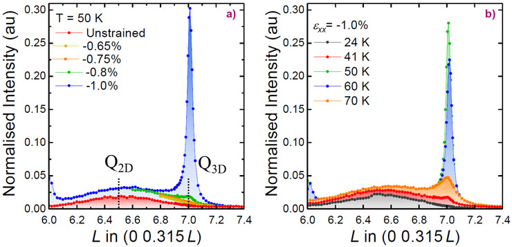 Strain  and temperature dependence  of the elastic peak intensity along the (0 0.315 L) direction