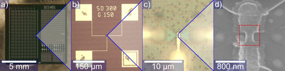Photograph, optical micrographs and SEM image of a transistor.
