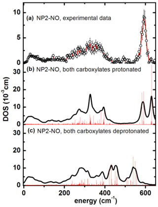 Iron vibrational density of states (DOS) for NP2−NO
