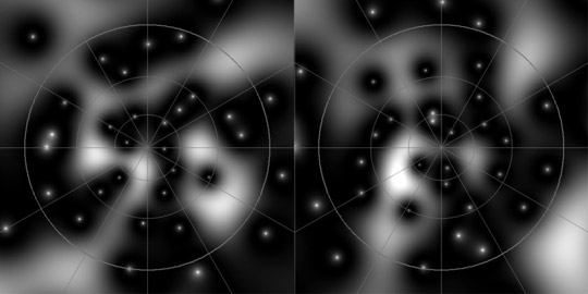 Stereographic representation of a random quantum state of a spin system with J=25