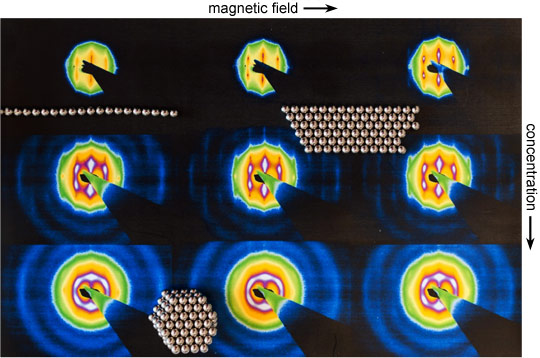 Microradian X-ray diffraction patterns measured at different field strength and at different vertical positions in the capillary