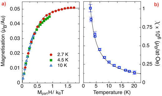 XMCD curves and magnetic susceptibility of Au nanoparticles on S layer ghosts