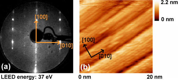 (a) LEED and (b) STM images of the SrTiO3 (103)          vicinal surface.