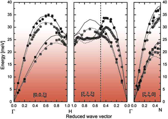 Phonon dispersions in molybdenum at high pressure.