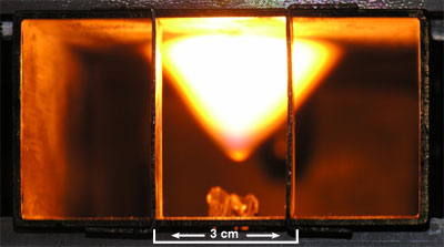 Photo of a stable fireball and the microwave cavity.